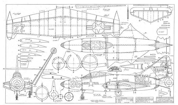 Grumman E9F-2KD Panther model airplane plan