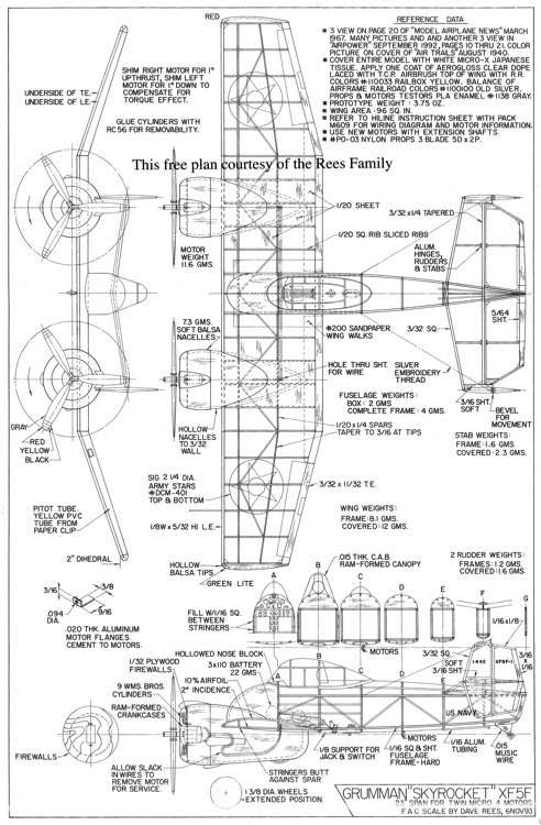 grumman xf5f skyrocket plans - aerofred
