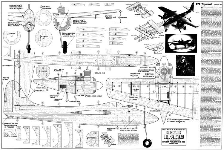 Grumman F7F Tigercat model airplane plan