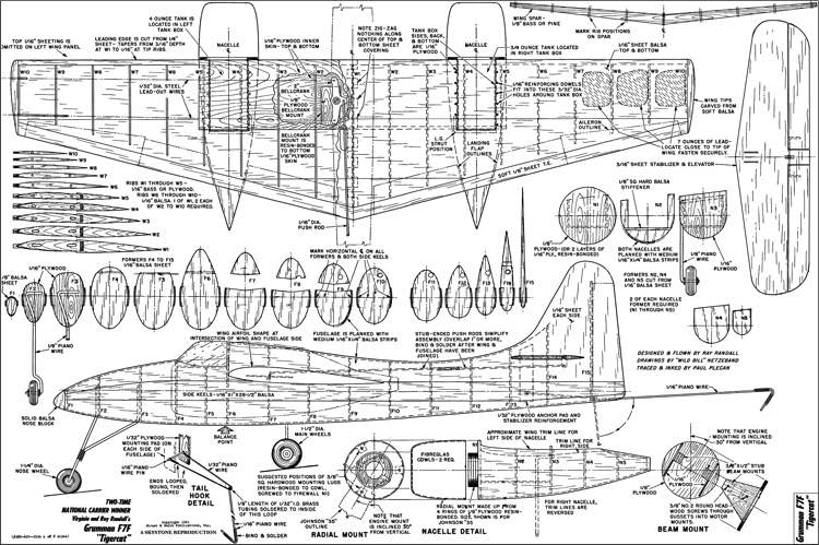 Grumman F7F Tigercat 35in model airplane plan