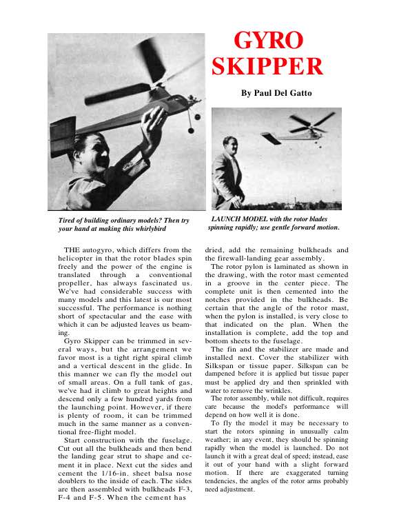 GyroSkipper model airplane plan