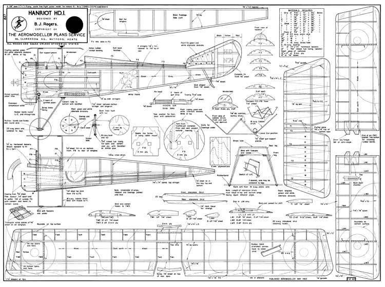 Hanriot HD-1 Aeromodeller-05-63 model airplane plan