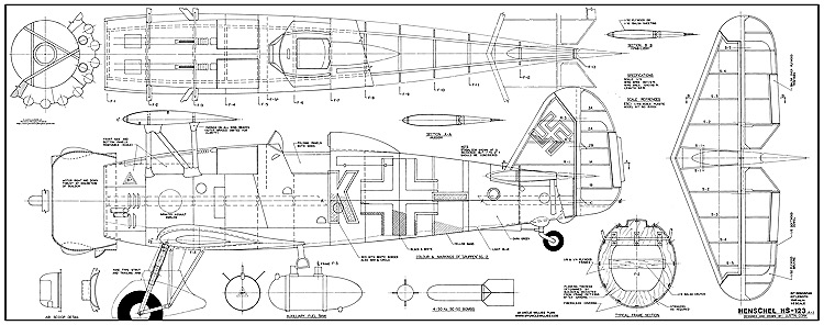 Henschel Hs 123 A-1 model airplane plan
