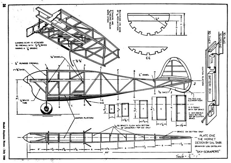 Hornet p1 model airplane plan