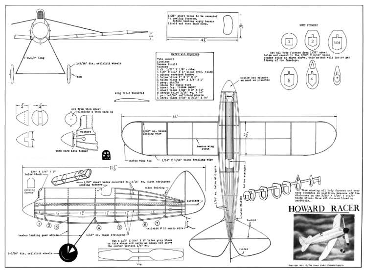 Howard Pete 14in model airplane plan