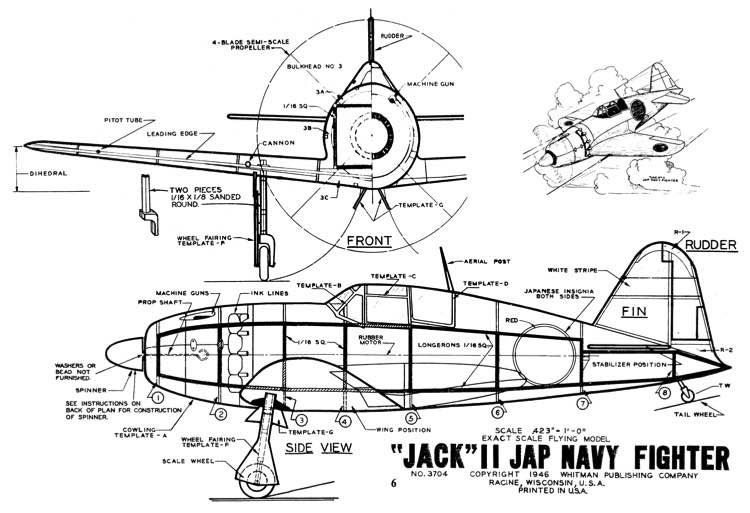 Jack II Mitsubishi Raiden 15 model airplane plan