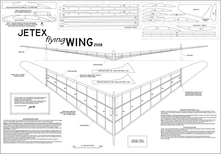 Jetex Flying Wing 2008 Plans - AeroFred - Download Free