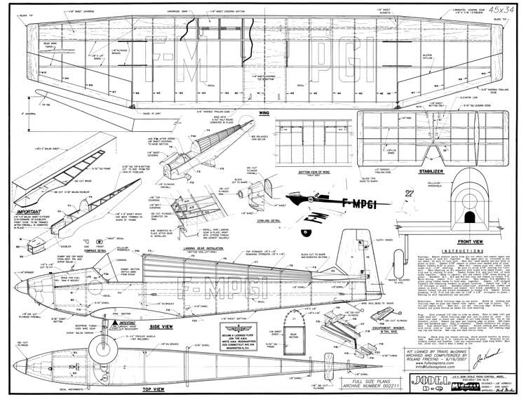 Jodel D-9 model airplane plan