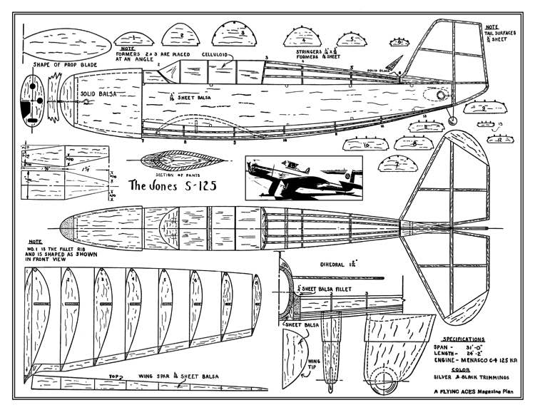 Jones S-125 model airplane plan