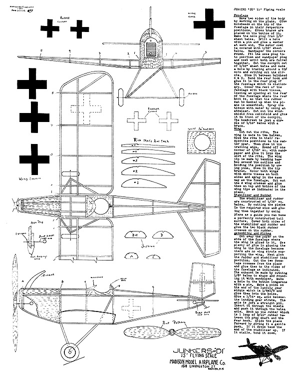 Junkers D1 15in model airplane plan