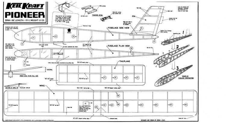 KK Pioneer model airplane plan