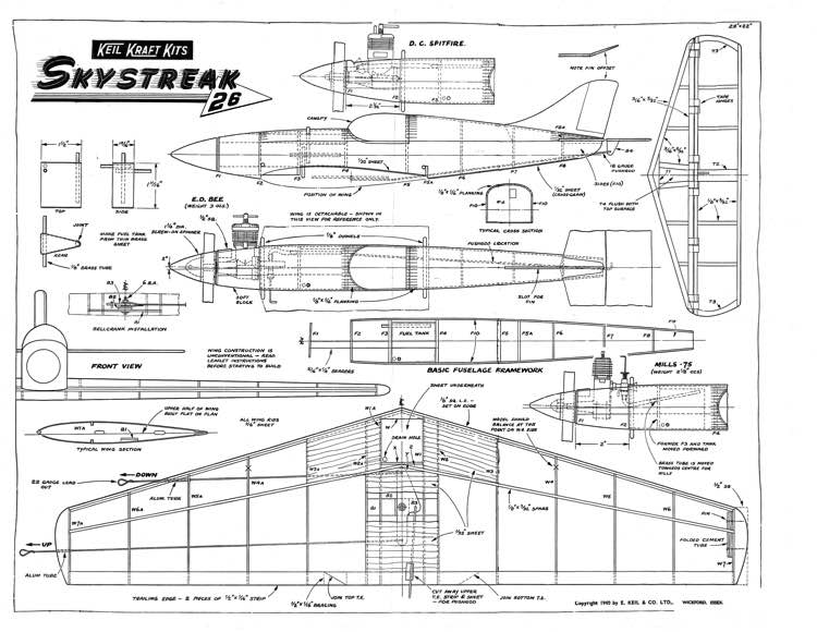KK-Skystreak model airplane plan
