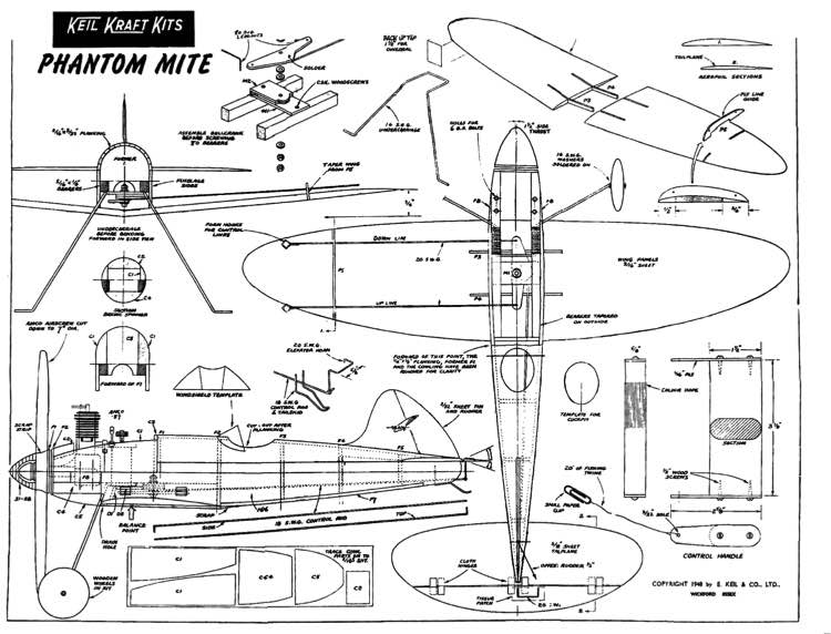 KK Phantom Mite 1948 model airplane plan