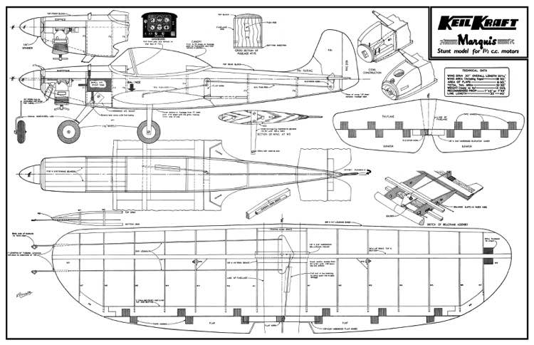 Keil Kraft Marquis 30in model airplane plan