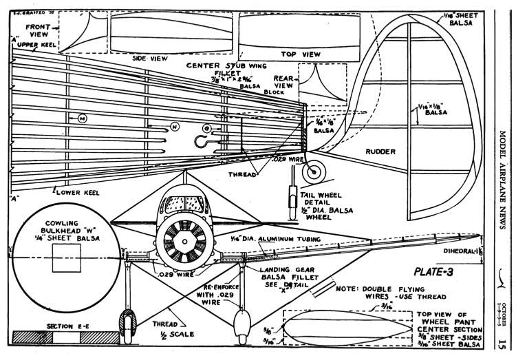 Kinner Envoy p3 model airplane plan