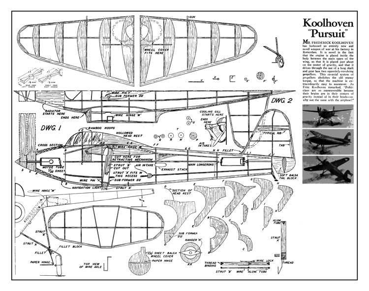 Koolhoven Pursuit model airplane plan