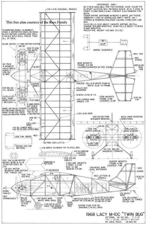 Lacy M-10C Twin Bug model airplane plan