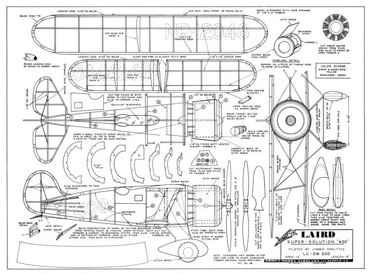 Laird Super Solution 15in model airplane plan