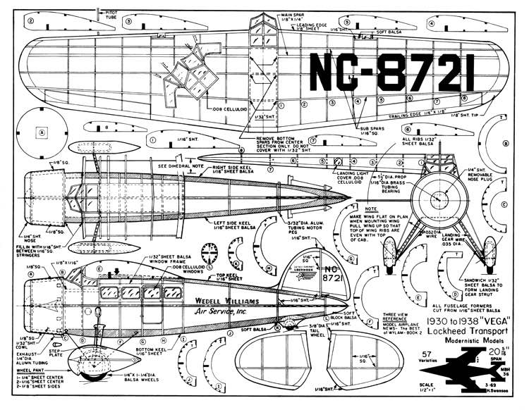 Lockheed Vega Transport-Modernistic Models model airplane plan