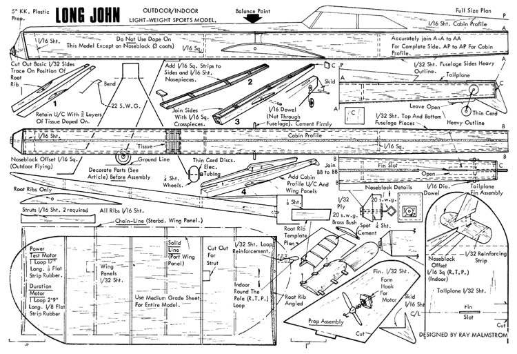 Long John 2 model airplane plan