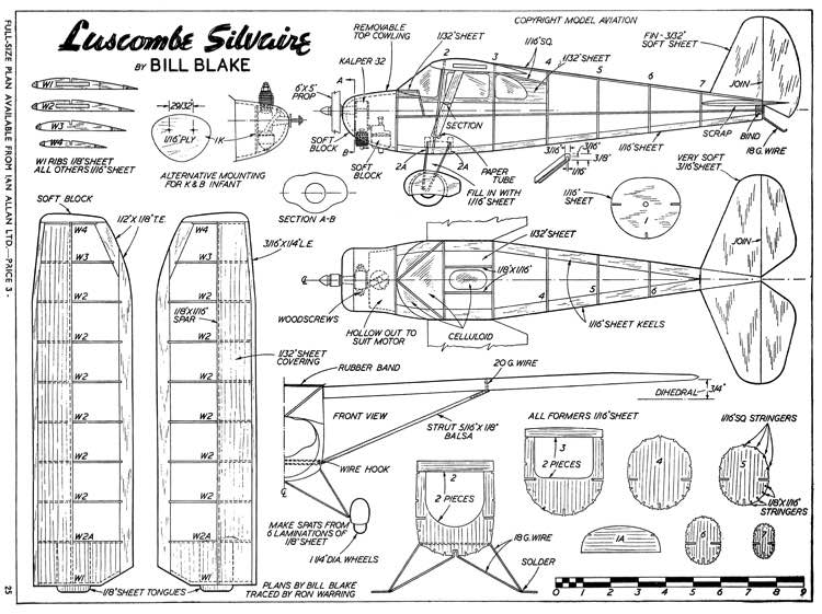 Luscombe Silvaire 30in model airplane plan