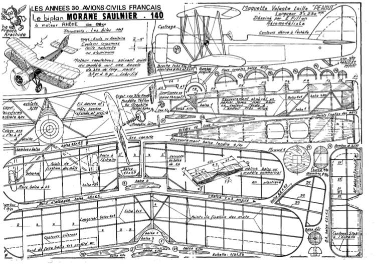 MORANE SAULINER 140 model airplane plan
