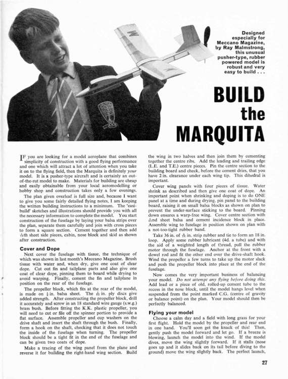 Marquita model airplane plan
