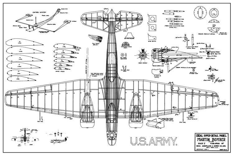 Martin B-10 model airplane plan