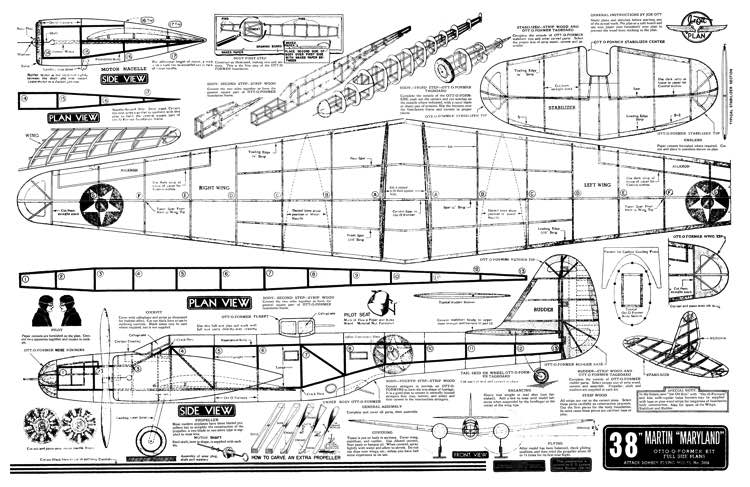 Martin Maryland Ott 38in model airplane plan