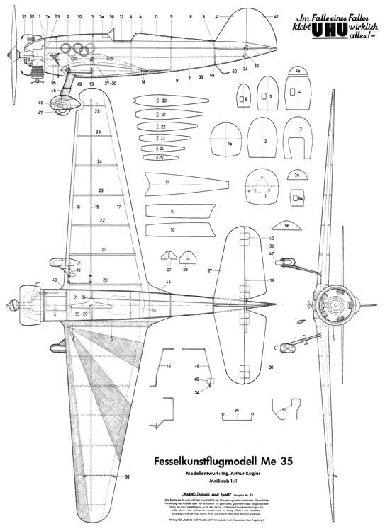 Me-35 CL 26in model airplane plan