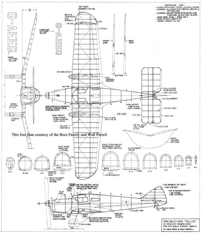 Miles M3A Falcon model airplane plan