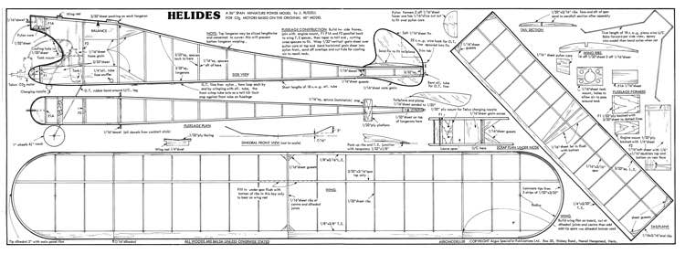 Mini Helides co2 model airplane plan