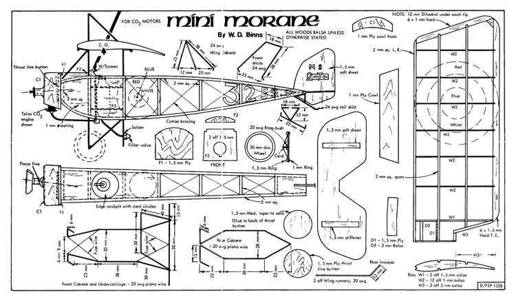 Mini Morane model airplane plan