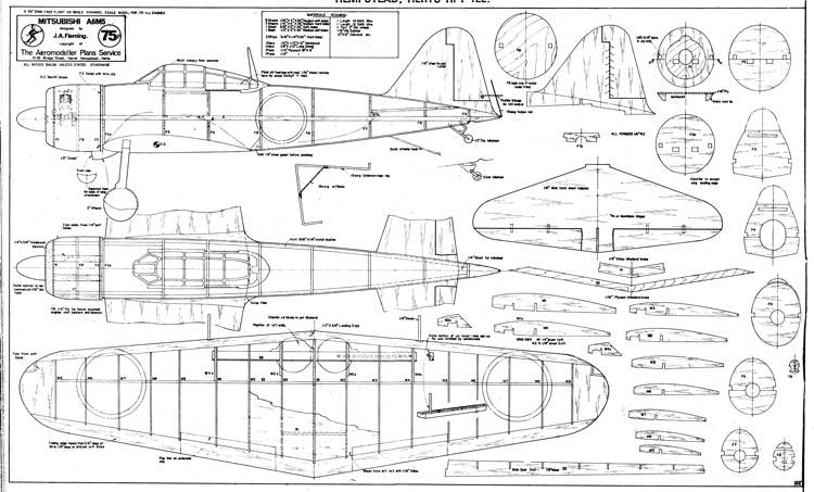 Mitsubishi A6M5 model airplane plan