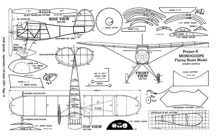 Monocoupe 2 model airplane plan