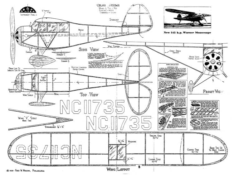 Monocoupe 3 model airplane plan