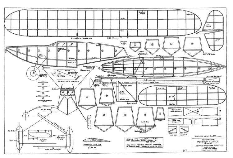 Monsoon Clipper 29in model airplane plan