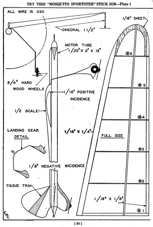 Mosquito Sportster model airplane plan