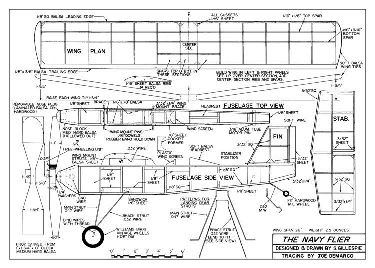 The Navy Flier model airplane plan