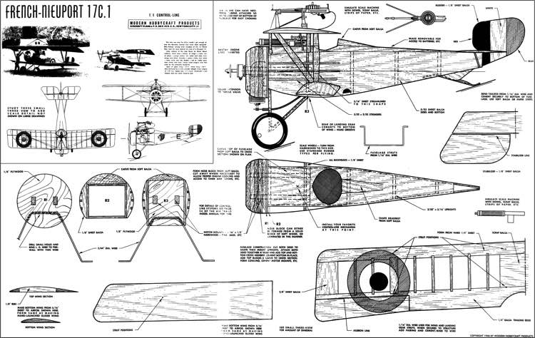 Neiuport 17 CL model airplane plan