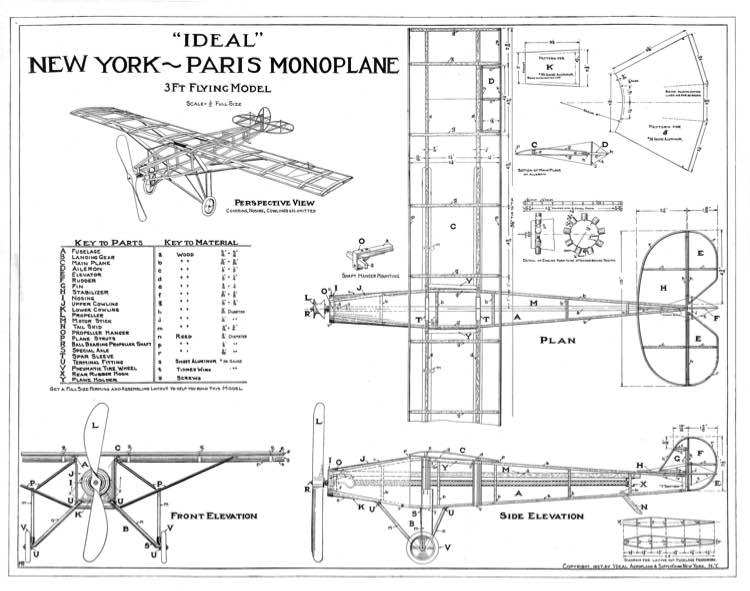 New York Paris Monoplane model airplane plan