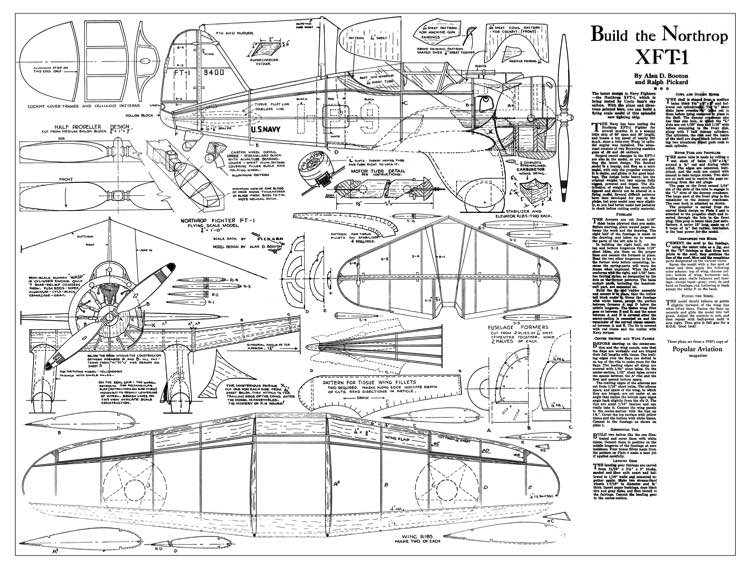 Northrop XFT1 model airplane plan