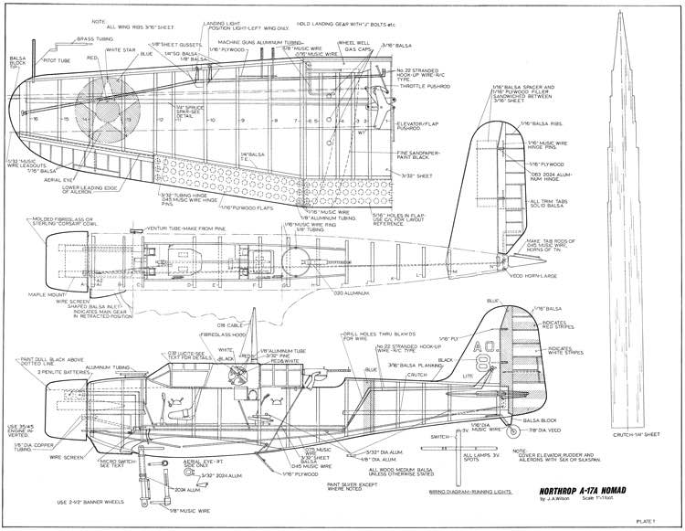 Northrop A17a Nomad model airplane plan