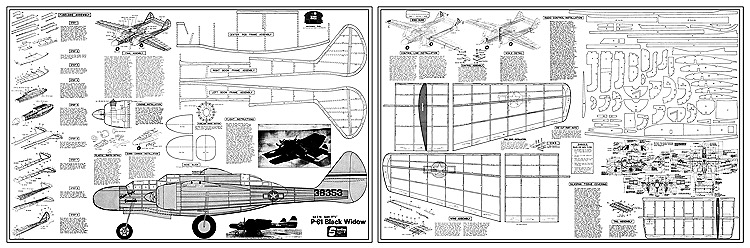 Northrop P-61 Black Widow Sterling kit E-15 model airplane plan