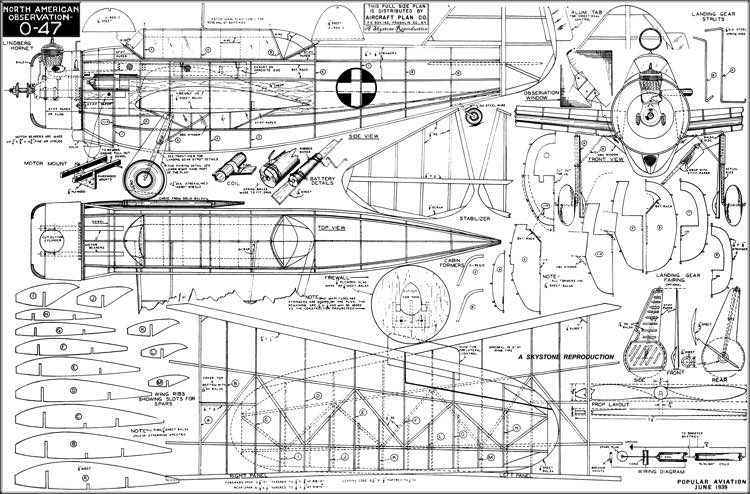 O-47 1939 model airplane plan