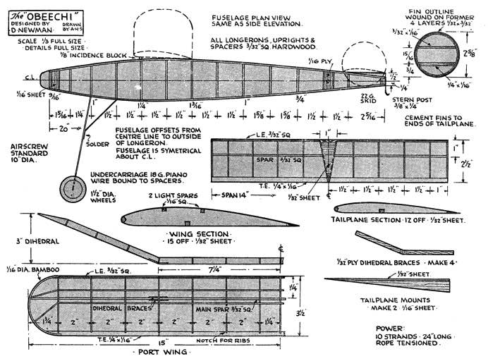 Obeechi model airplane plan