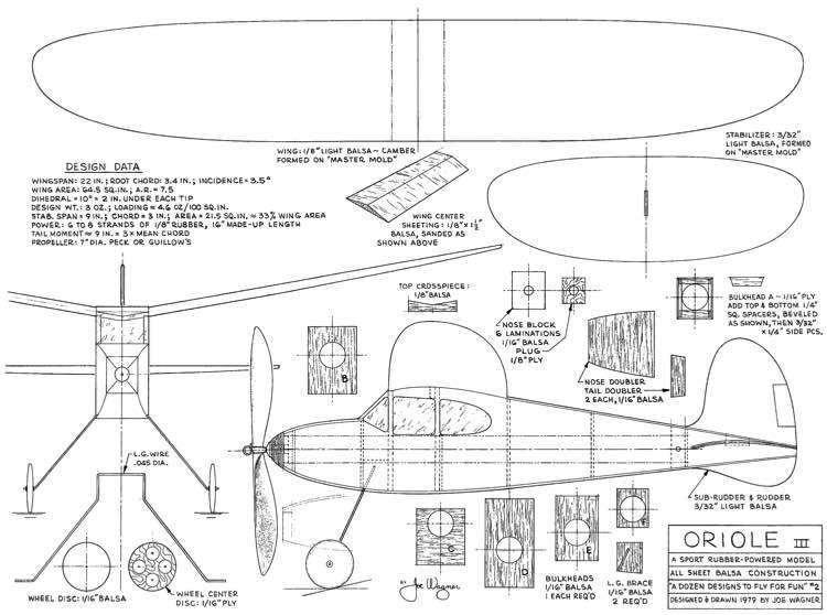 Oriole III Joe Wagner model airplane plan