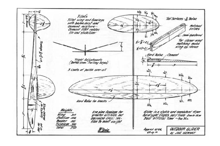 Outdoor Glider model airplane plan