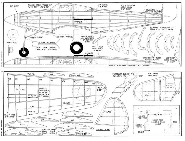 P-39-1 model airplane plan