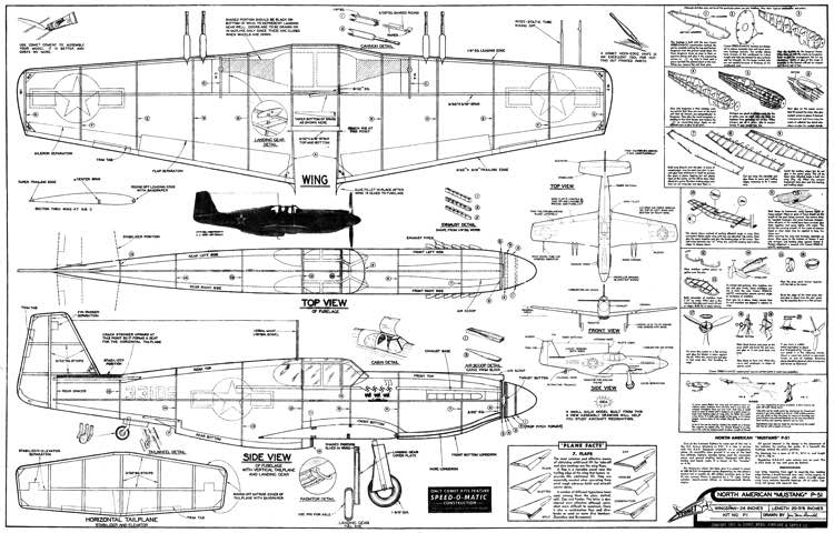 P-51A 24in model airplane plan